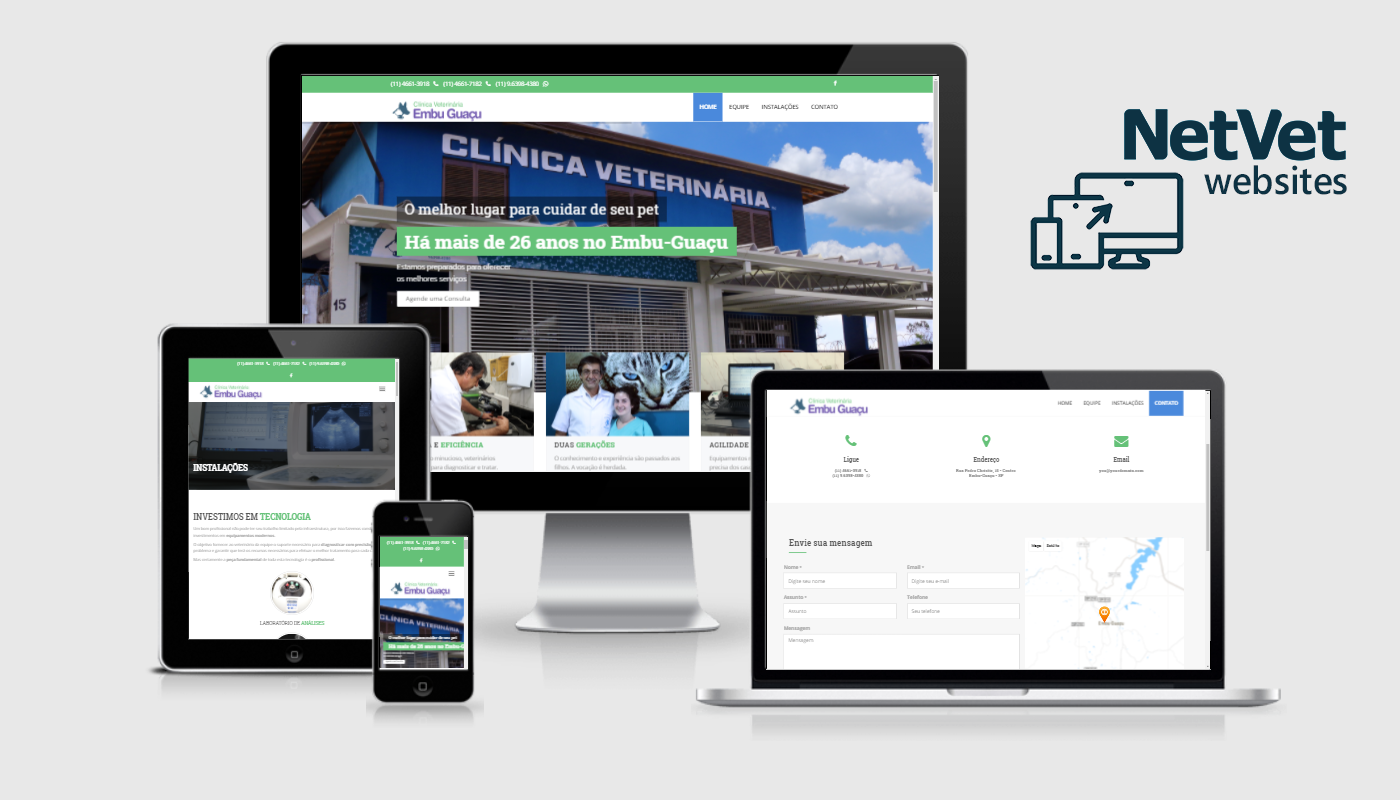 websites para o mercado veterinário - clínicas veterinárias, canil, gatil etc.